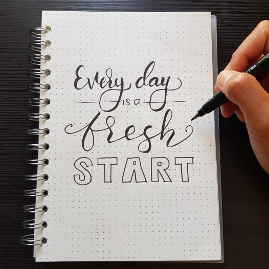 Ringbuch mit Handlettering Everyday is a fresh start
