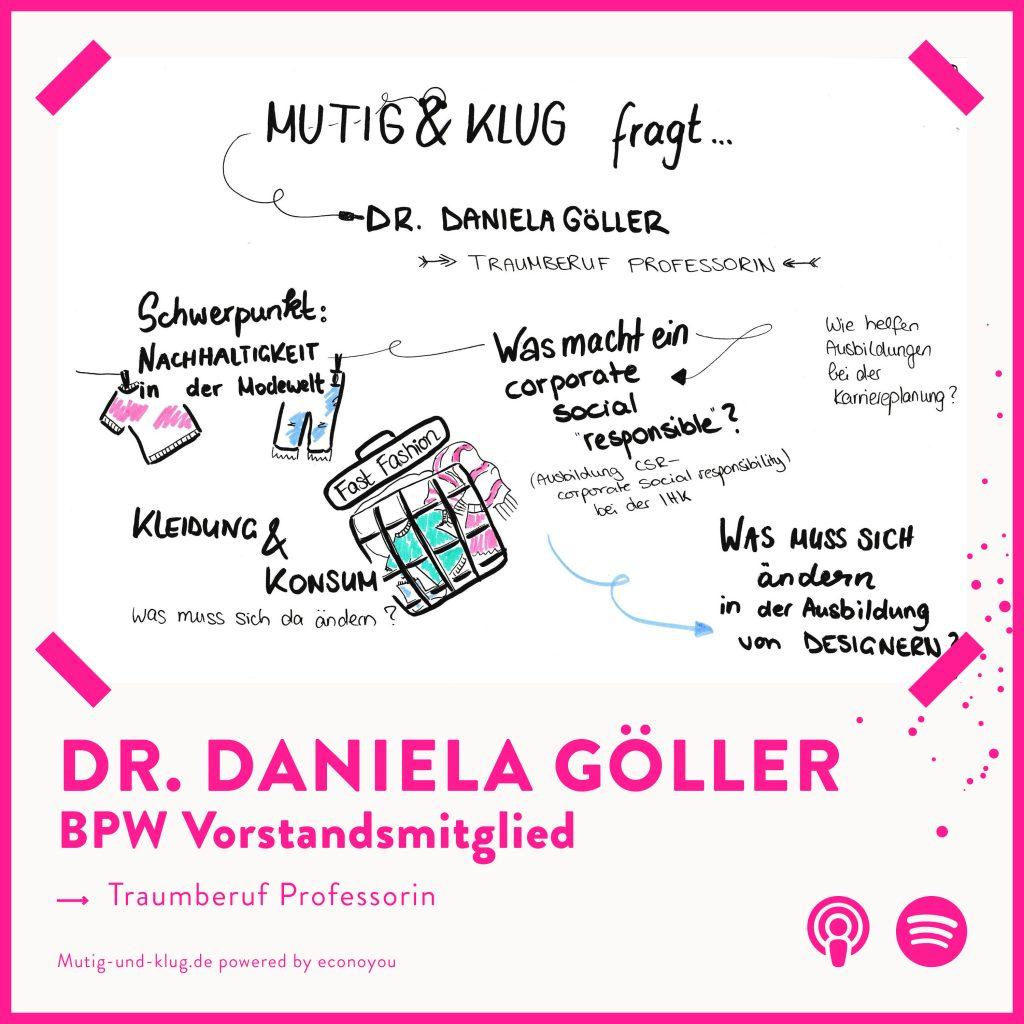 Graphic Recording der Folge Mutig und Klug fragt BPW Vorstand Dr Daniela Göller